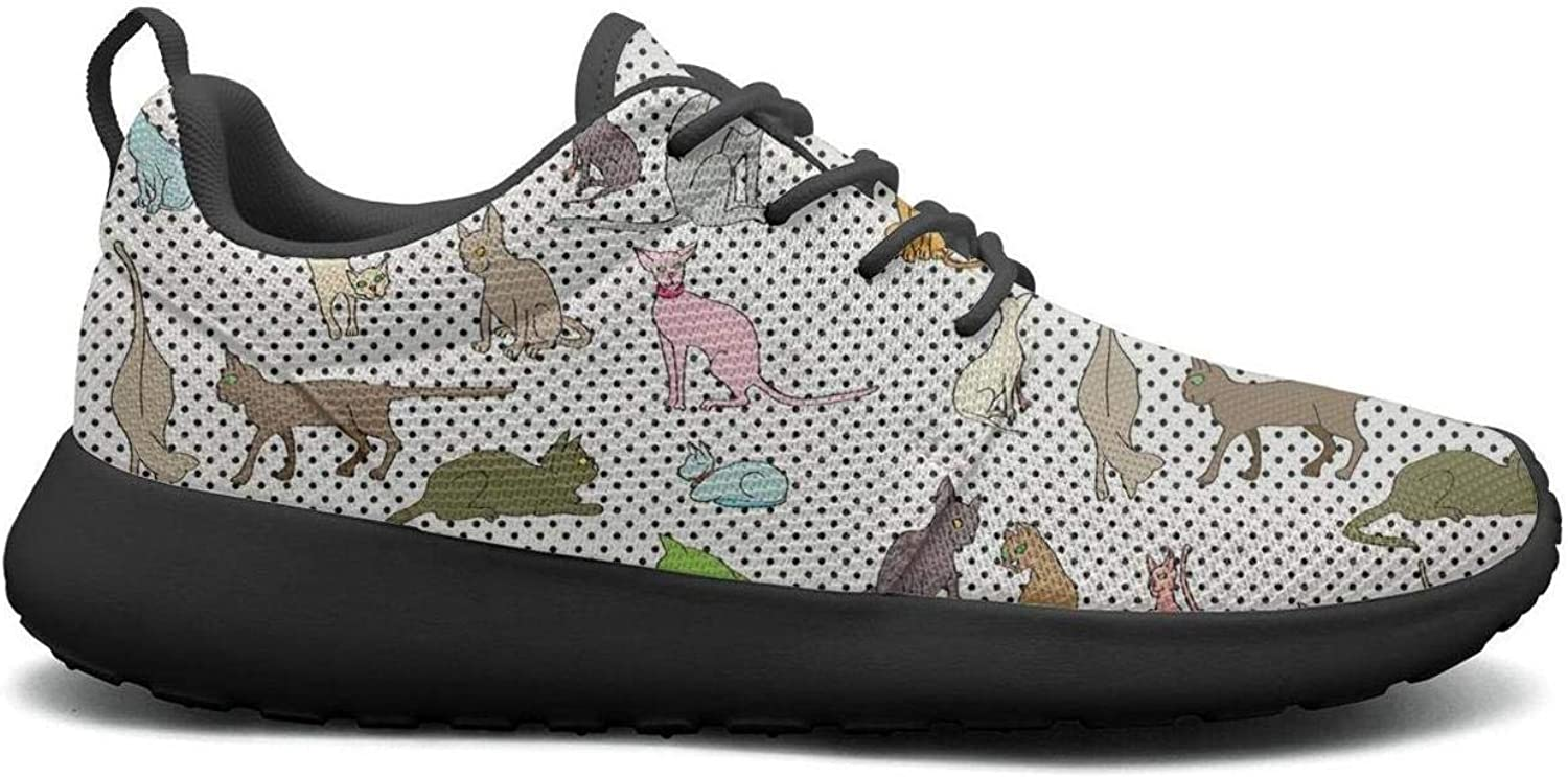 Gjsonmv Colourful Siamese Cat Dot mesh Lightweight shoes for Women Non Slip Sports Track Sneakers shoes