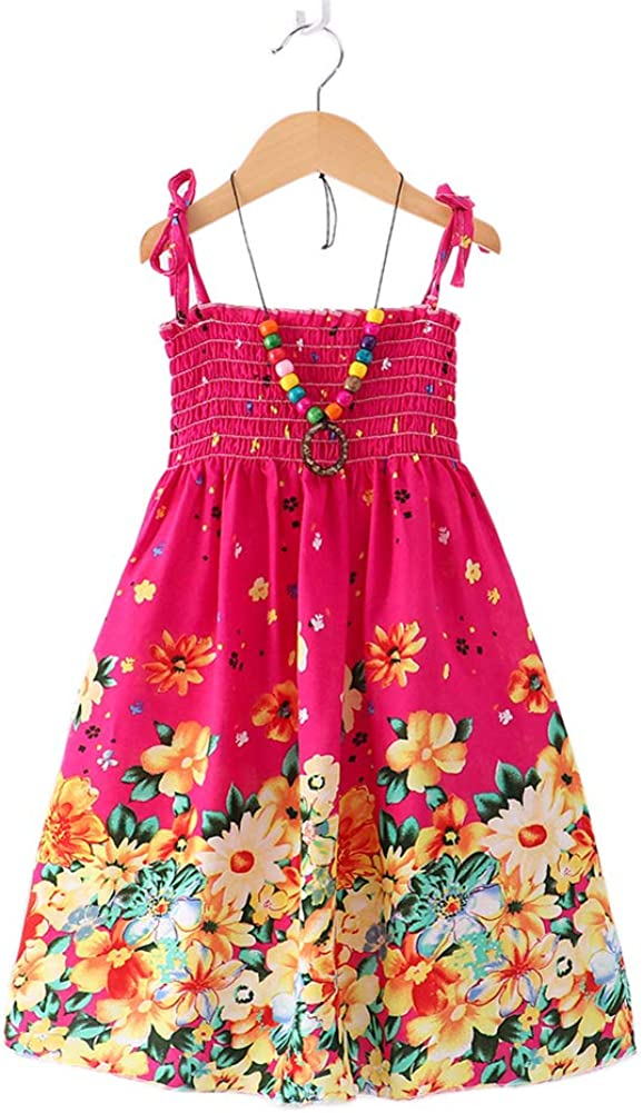 Flenwgo Girls Bohemian Dresses Floral Sleeveless RainbowBeach Sundress with Necklace 2-12T
