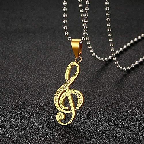 Yiffshunl Collar Nota Collar para con Piedra Brillante Acero Inoxidable Música Collar Accesorios Cadena de Bolas Gratis 24 Collar de Regalo
