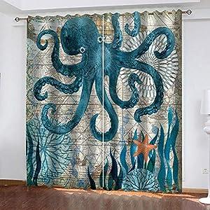 Crib Bedding And Baby Bedding Sdsoniu - Nursery Curtains - Ocean Octopus Seaweed Print 140X100Cm Drapery For Bedroom Thermal Insulated Nursery Essential Night Sleep Enhancing Window Treatment For Kid'S Room