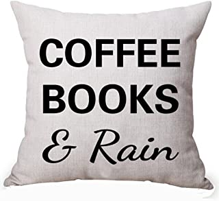 Queen's designer Book Lover Reading Library Book Club Coffee Books And Rain Cotton Linen Decorative Throw Pillow Case Cushion Cover Square 18