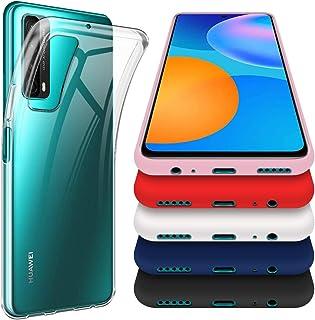 crisnat 6 Piezas Funda para Huawei P Smart 2021, Uno Transparente y Cinco Vistoso(Negro,Blanco,Rosado,Rojo,Azul) Suave TPU...