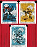 Transformers Rescue Bots Superhero Prints Set of (3) Optimus Prime Bumblebee Megatron Transformers Bedroom Wall Decor Transformers Dictionary Art Prints