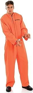 Mens Orange Jumpsuit Boiler Suit Prisoner Convict Death Row Halloween Fancy Dress Costume Outfit Medium-XL (Extra Large)