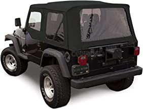 Sierra Offroad Jeep Wrangler TJ (1997-2002) Factory Style Soft Top with Tinted Windows, with matching Upper Door Skins Black Sailcloth
