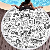 Tridietty Video Games Round Beach Towel Gaming Racing Monitor Device Gadget Teen 90's Microfiber Roundie Large Beach Towel Yoga Mat Bath Towel for Adults Kids, 59 Inches