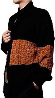 HEFASDM Mens Splice Cardigan Long Sleeve Knitting Trench Coat Outwear