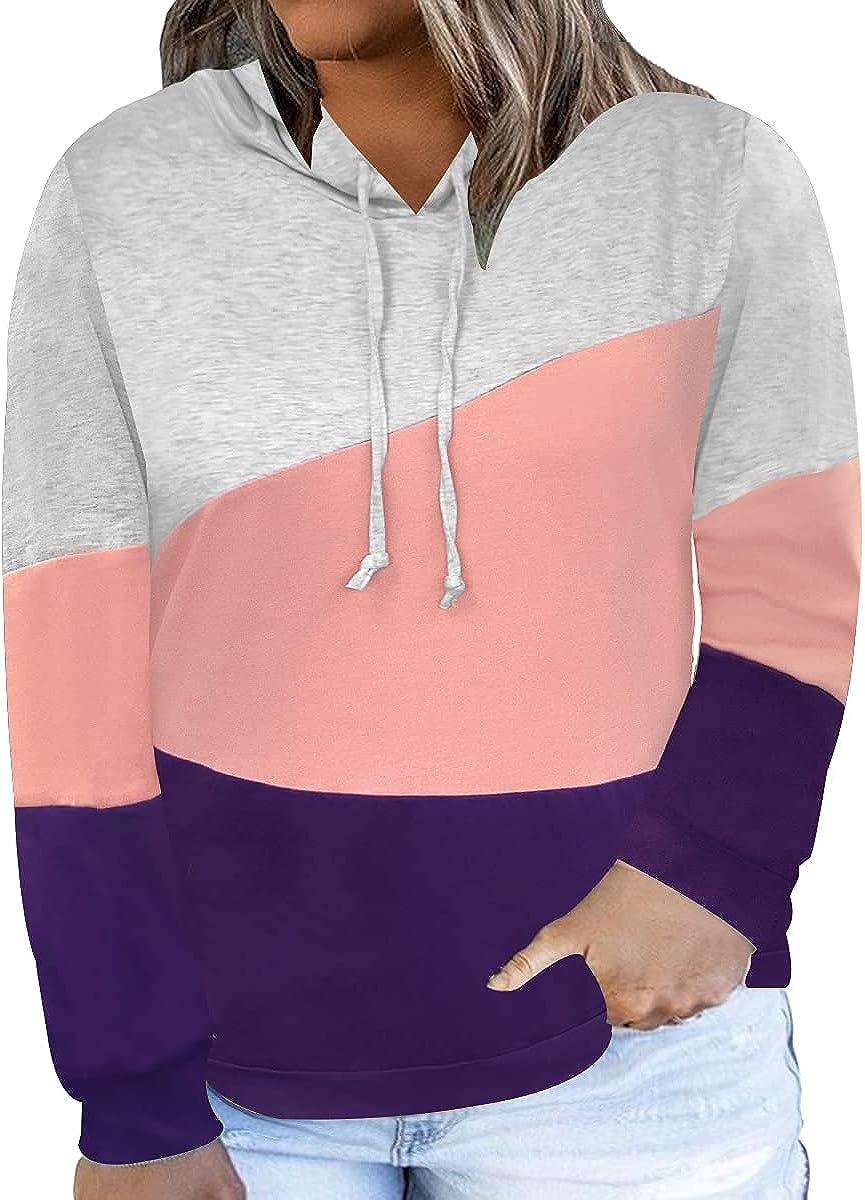 Carcos Plus Size Hooide Women Long Sleeve Fall Pocket Hooded Sweatershirt XL-5XL