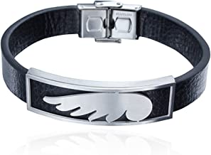 HAWSON Mens Leather Bracelet Stainless Steel 8.25 inch Bangle Wristband - Gift for Men