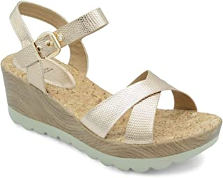 tresmode Women's Hamedge Gold Open-Toe Wedges