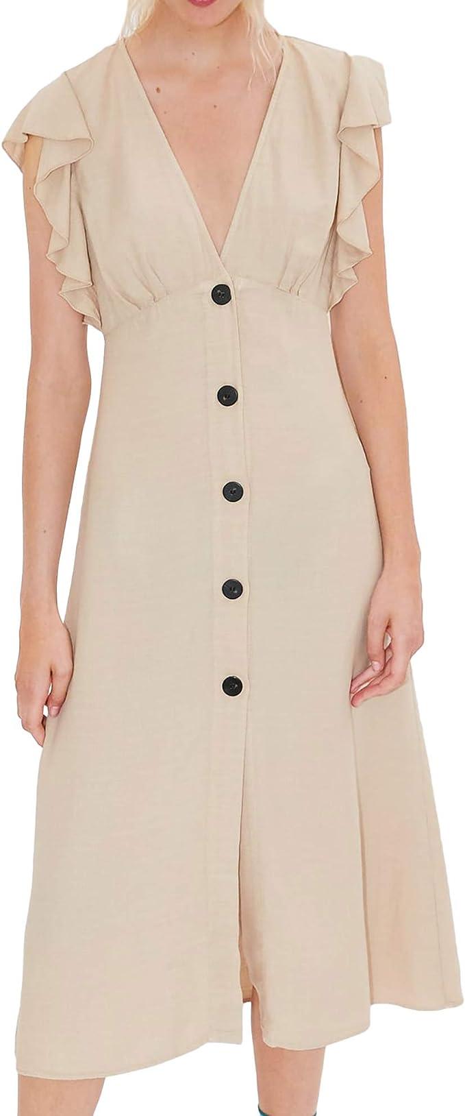 Zara 2674/220 - Vestido rústico con volantes para mujer ...