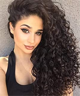 Yingrun Deep Wave 360 Lace Front Human Hair Wigs,150% Density Pre-Plucked Hair Line Lace Frontal Curly Wigs with Baby Hair for Black Women (18 inch)