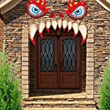 Halloween Monster Face Door Stickers Decorations, Outdoor Garage Door Archway Windows Scary DecalsParty Decoration with Eyes Teeth Cutouts and Double-Sided Stickers (Red)