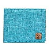 Boys Wallet Bifold, Fabric RFID Blocking Wallet for Kids Teens Girls Thin Small (Crosshatch Blue)