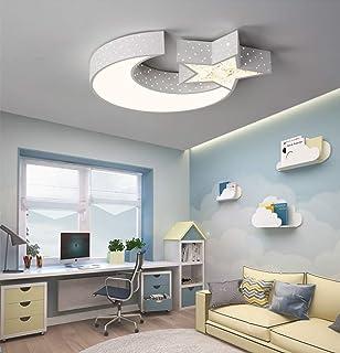 LED Lámpara de techo para habitación de niños lámpara de techo niño y niña en forma de la luna y las estrellas (Luz tricolor, Borde blanco (55 * 7 cm 30 W))