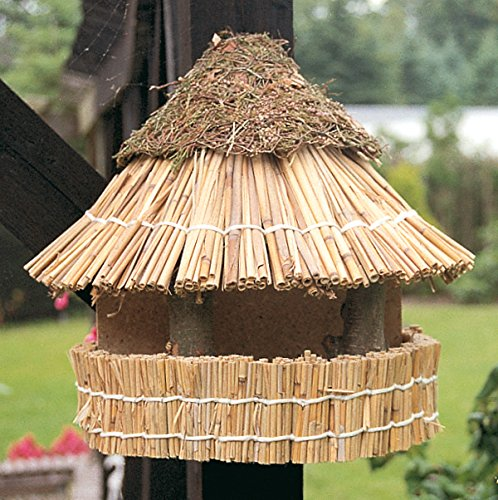 """Vogelfutterhaus mit Reetdach und Heidekappe, """"Heidehütte zum Aufhängen"""""""