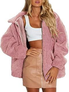 Teddy Bear Coat for Women's Winter Lapel Faux Fur Jacket Long Sleeve Winter Boyfriend Coats