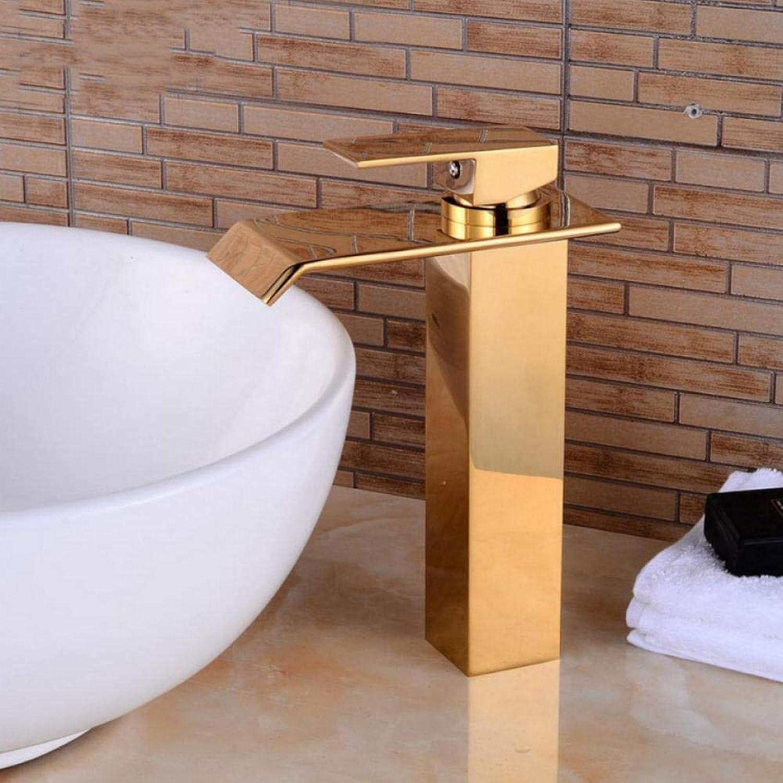 Hiwenr Deck Montiert Wasserfall Gold Waschbecken Wasserhahn Hoch Wasser Mischbatterie Heien Und Kalten Becken Waschbecken Wasserhahn