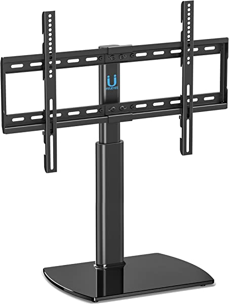 Fitueyes Universal TV Stand Base Swivel Tabletop TV Stand With Mount For 32 To 65 Inch Flat Screen TV 80 Degree Swivel 3 Level Height Adjustable Tempered Glass Base Holds Up To110 Lbs Screens