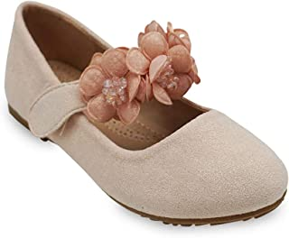 08104aadc309f7 Girls Glitter Suede Mary Jane Ballerina Flat Shoes Princess Dress Shoes  (Toddler/Little Kid