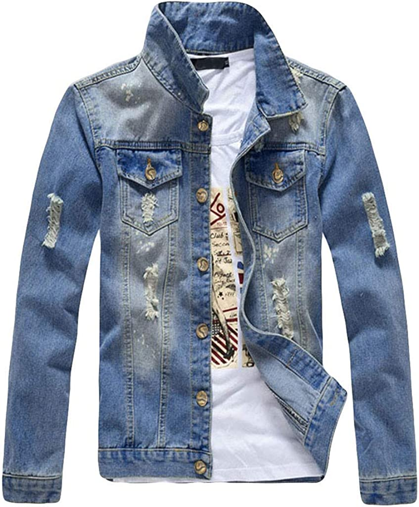 MODOQO Men's Denim Jacket Long Sleeve Casual Button Down Lightweight Washed Jeans Outwear