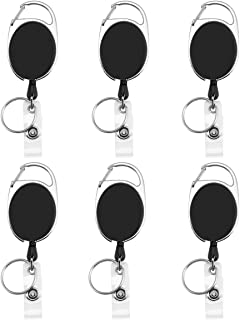 Retractable Badge Reel, 6 Pieces Premium Retractable Carabiner Badge Holder Reels with Key Ring and Badge Strap, Clip On Retractable ID Card Key Chain - with Back Splint