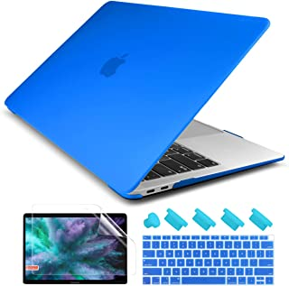 Dongke Smooth Matte Frosted Hard Shell Cover for MacBook Air 13 Inch with Retina Display fits Touch ID, Air 13 Inch Case 2019 2018 Release A1932 (Frost Deep Blue)
