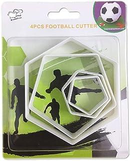 SAKOLLA Soccer Ball Cookie Cutter,Hexagon Cookie Cutter,Football Cake Decorations - 4 Sizes Biscuit Cutters/Sandwiches Cut...