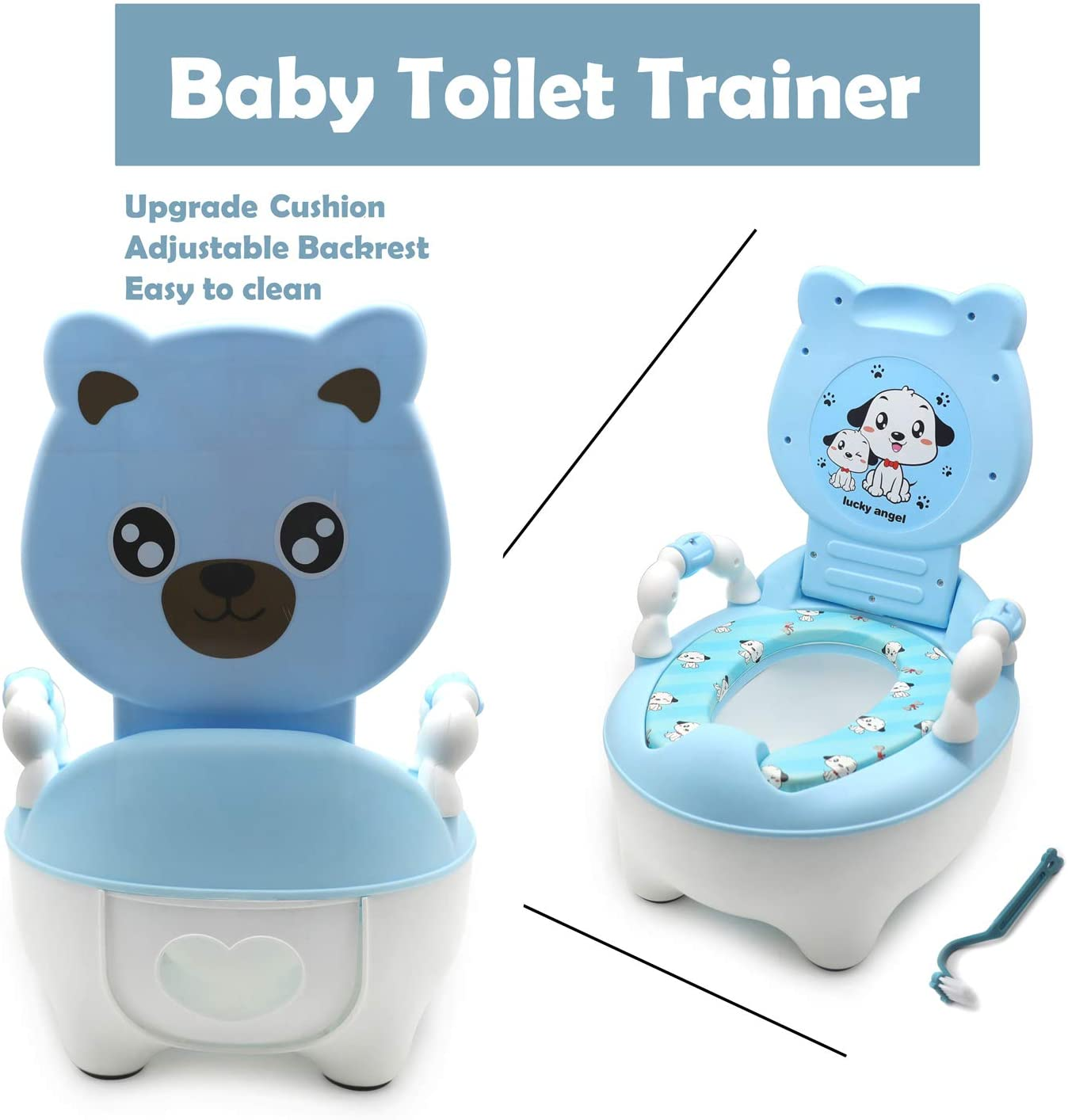 Baby Kids Blue Bear Portable Potty Training Toilet Seat With Pad Toddler Lovely Toilet Comfortable Soft Seat Stool Chair HTTMT P//N: ET-BABY003-BLUE