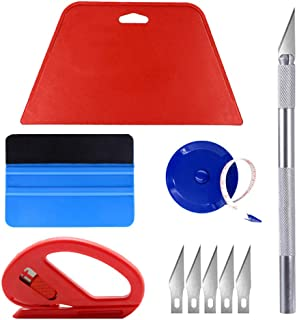 JAPI Wallpaper Smoothing Tool Kit Include Blue Tape Measure,red Squeegee,Medium-Hardness Squeegee,snitty Vinyl Cutter and Craft Knife with 5 Replacement Blades for Adhesive Paper Application Window