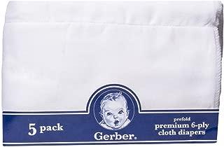 Gerber Prefold Premium 6-Ply Cloth Diapers, 5-Pack