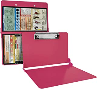 Nursing Clipboard Foldable, Metal Nurse Clipboard with Storage and Quick Access Medical References Folding Board for Nurses, Doctors, Medical Students or Any Healthcare Professional (Pink)