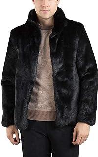 Loveso Mens Tinta Faux Faux Winter Unita Stile Semplice Nera Jacket Winter Coat Giacca Corta Moda Uomo Pelliccia Uomo Giac...