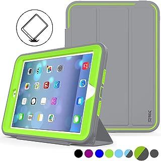 iPad Mini 1/2/ 3 Generation Case, (Not for mini4), SEYMAC stock Three Layer Protect Smart Cover Auto Sleep Wake for iPad Mini 1/2/3 Leather Stand Feature & Heavy Duty Protective Case (Gray/Green)