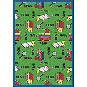 Joy Carpets Kid Essentials Language & Literacy Round Bookworm Rug, Green, 7'7″