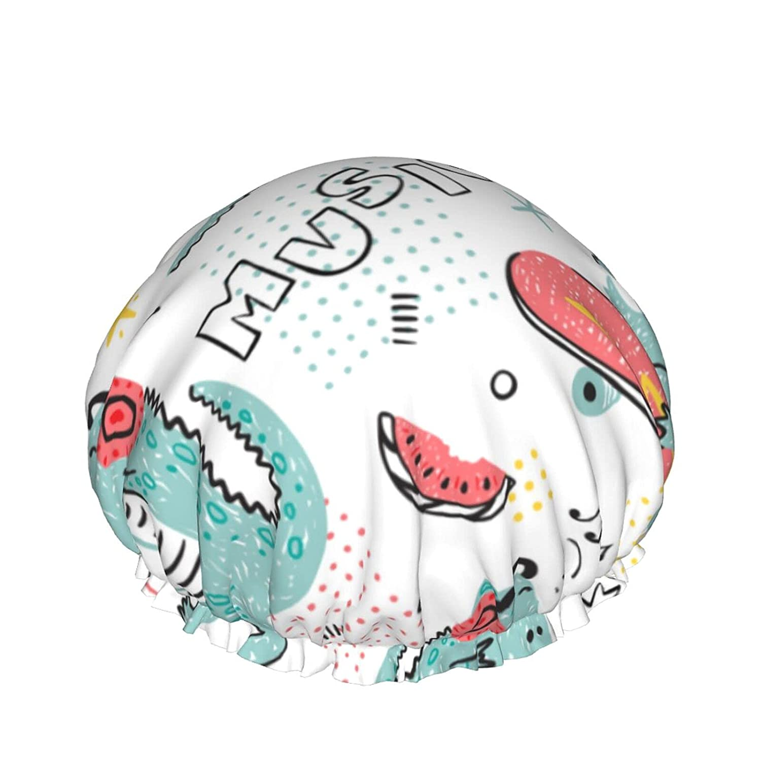 Double Layers Shower Purchase Cap Music Dinosaur Backgroun Lover Childish Quality inspection