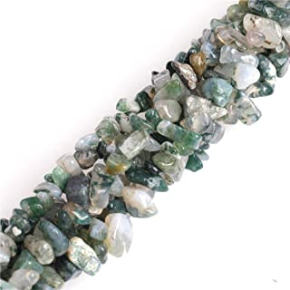 7-8mm Moss Agate Chips Beads for Jewelry Making Natural Gemstone Semi Precious 34