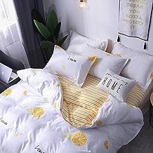$23 » Beyonds Skin-Friendly Cotton Velvet 3 Piece Bed Set Lemon Yellow Pattern Three Bed Set for Deeper Sleep Includes x1 Duvet Cover x2 Pillowcases - Home School Bed Decor