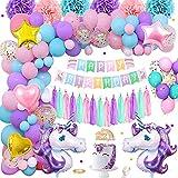 Unicornio Decoraciones Cumpleaños Niña, Pink Purple Azul Feliz Cumpleaños Globos Con Banner Cake Topper Barcelones Pom Poms Latex Confeti Foil Globos Para Baby Girls Fiesta