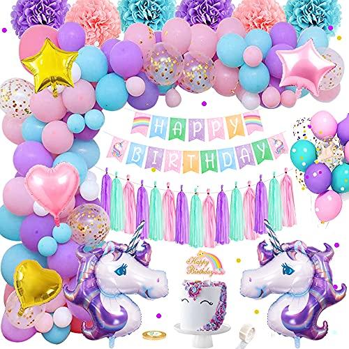 Licorne Décorations Anniversaire Filles, Rose Violet Bleu Ballons Joyeux Anniversaire Avec Bannière Gâteau Topper Tassels Pom Poms Latex Confetti Feuille Ballons Pour Bébés Filles