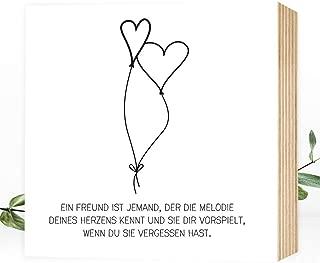 Wunderpixel Holzbild Freundschaft  Liebe - 15x15x2cm zum Hinstellen/Aufhängen, echter Fotodruck mit Spruch auf Holz - schwarz-weißes Wand-Bild Aufsteller zur Dekoration oder Geschenk-Idee
