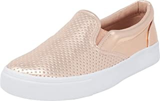 Cambridge Select Women's Round Toe Perforated Laser Cutout Slip-On Flatform Fashion Sneaker White