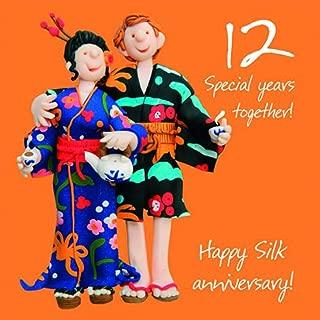 12th Wedding Anniversary Card by Holy Mackerel