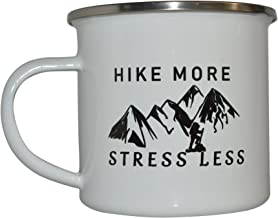 Funny Camp Mug Enamel Camping Coffee Cup Gift Hike More Stress Less Camping Gear