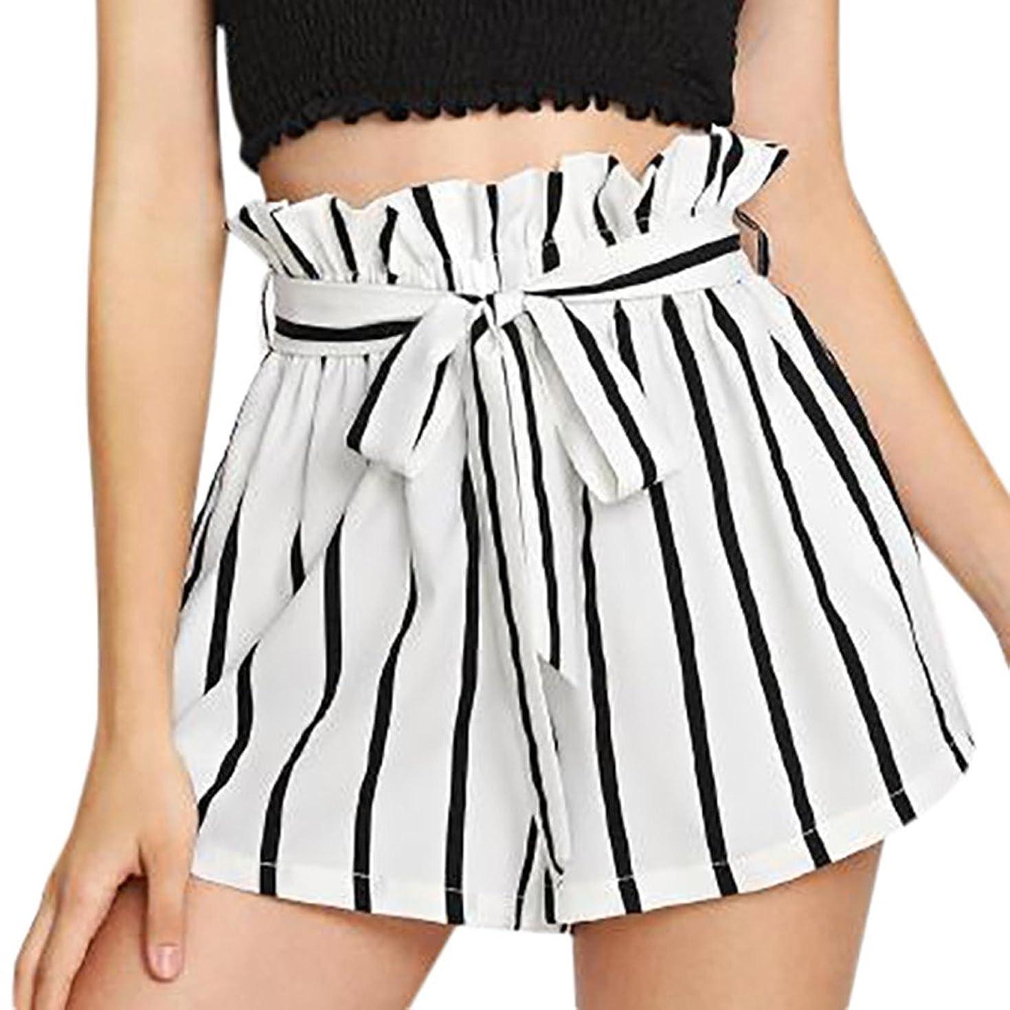 HAALIFE??Women's Casual Elastic Waist Striped Summer Beach Shorts with Pockets