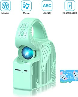 Kids Mini Projector, ROTEK Kids Stories Zoomable Video Projector, Songs and Animations Player with 32GB TF Card, Home & Outdoor Portable Projector Xmas Gifts