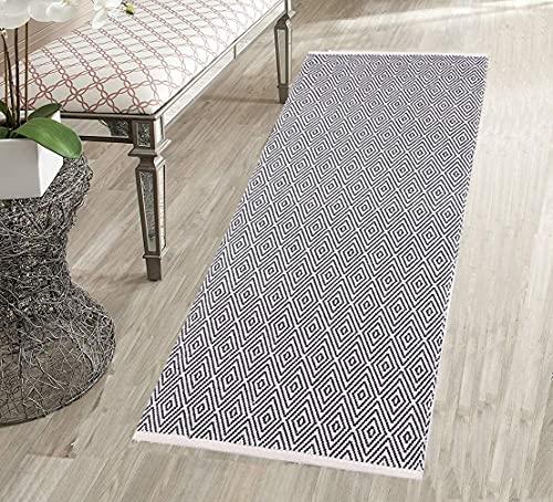 U'Artlines Cotton Area Tappeti 60x130cm Runner in Cotone Tessuto Lavabile in Lavatrice per Cucina, Soggiorno, Camera da Letto, Lavanderia (Diamante Grigio Scuro)