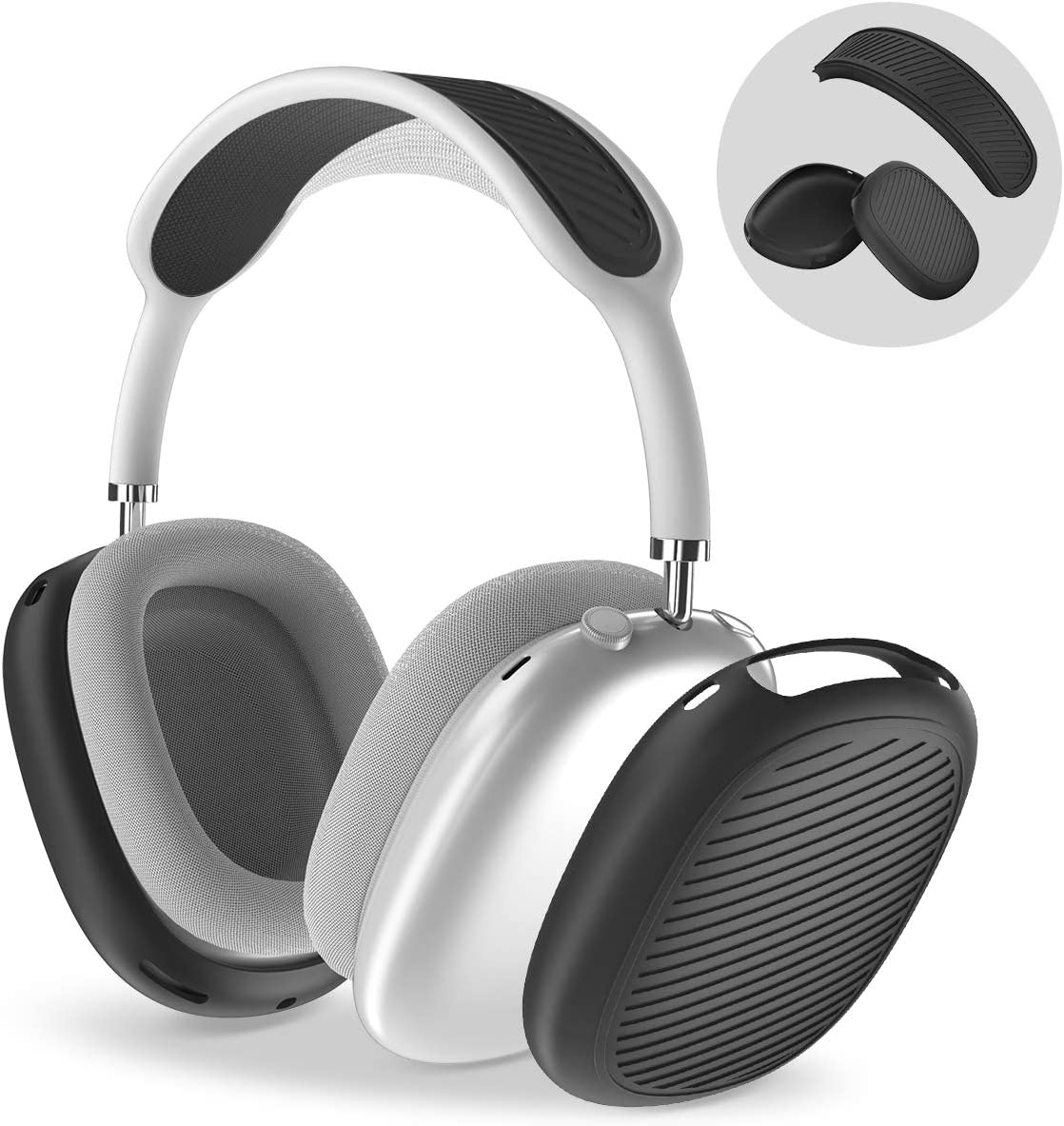 [2 Sets] Case for AirPods Max Ear Cups Cover & Headband Cover, Soft Silicone Anti-Scratch/Dust-Proof Earphone Earpad Cover & Headband Cushion for Apple AirPods Max - Airpods Max Accessories (Black)