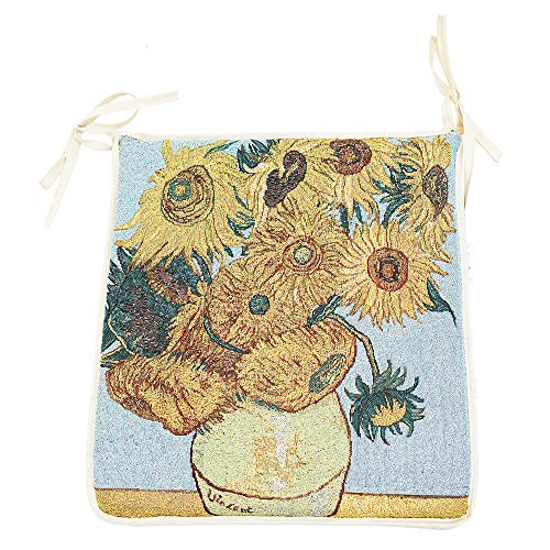 Signare tapestry seat Cushion for kitchen, dining, garden chair cushions or work chair cushion with van Gogh art prints (Sunflower, STPD-VANGOGH-SUNFL)