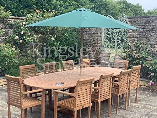 Kingsley Smythe Regal - Juego de comedor para jardín (10 plazas, doble extensible, teca)
